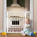 Treppenschutzgitter, Türschutzgitter, Automatische Rückfederung zum Schließen der Tür, Robust und Langlebig, Anwendbare Breite für die Installat(Size:75-82+7+14cm/29.53-32.28+2.75+5.51inch,Color:Weiß)