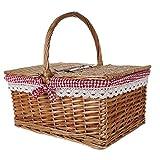 YAeele Willow Picknick-Korb Hand Einkaufen Blumenkorb Picked mit Covered Red Grid