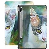 Digitale Grafik Cat Watch beobachtet Junge Samsung Galaxy S7 für Samsung Galaxy Tab S7 / s7 Plus Samsung S7 Gehäuse Stand Back Cover Tablet Hüllen für Galaxy Tab S7 11 Zoll S7 Plus