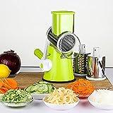 QIUXIA Rotierende Gemüsereibe, Gemüse Spiralschneider Mit 3 Trommel-Klingen Für 3 Spiralen Ergebnisse Obst Und Gemüsespaghetti Zucchini Spaghetti Schneider Und Saugnapf (Grün)