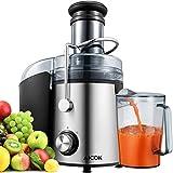 AICOK Entsafter Gemüse und Obst, 800W Zentrifugal Entsafter 75MM Einfüllöffnung, mit Anti-Tropf-Funktion und Überhitzungsschutz inkl, Geräuschloser Motor, BPA-Frei, Rutschfeste Füße