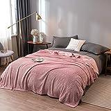 Amosiwallart Decke hochwertige Wohndecken Kuscheldecken, extra warm Sofadecke/Couchdecke in zweiseitig, super flausch Fleecedecke als Sofaüberwurf oder Wohnzimmerdecke -Pfirsichmehl_180 * 220 cm