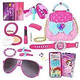 Kinder Schminkset Mädchen Rollenspiel Spielzeuge 17 Stück with Tasche, Telefon, Falsches Kosmetik und Sonnenbrille, Make Up Set zum 3 4 5 6 7 Jahre