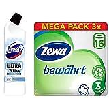 Domestos und Zewa Set (12er Pack) mit WC Gel (1 x 750 ml) und Toilettenpapier trocken bewährt, weiß, 3-lagig (3 x 16 Stück)