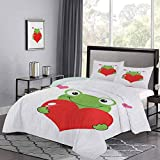 dreiteiliges Bett Bettbezug Niedlicher Cartoon Frosch hält Riesenherz Anbetungsthema Lustiger Charakter Illustration Druck Bequeme Bettwäsche für Schlafzimmer Dekor Grün Rot Rosa