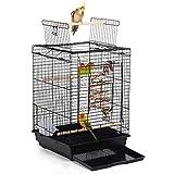 Yaheetech Vogelkäfig Transportkäfig Kanarien Großsittich mit Freisitz und Spielzeuge