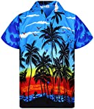 V.H.O. Funky Hawaiihemd, Kurzarm, Beach, blau, XL