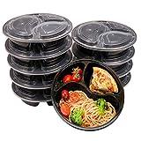 3 Fach Mahlzeit Vorbereitung Behälter mit Deckel, stapelbar, Spülmaschinenfest und mikrowellengeeignet, Lunchbox,Wiederverwendbar rund 10er Pack (Rund-10-Pack)