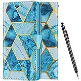 Uposao Kompatibel mit Samsung Galaxy Note 20 Ultra Hülle Leder Schutzhülle 3D Marmor Muster Flip Wallet Bookstyle Case Magnet Kartenfach Tasche Handyhülle Lederhülle Klapphülle Kartenfächer,Grün