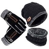 YULOONG Beanie Hut Schal Handschuhe Set Winter Strickmütze Halswärmer Touchscreen Fahrhandschuhe Unisex