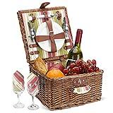 ZORMY Picknickkorb für 2 Personen, langlebiges Wicker Picknickkorb-Set, Willow Picknickkorb Zubehör Teller und Utensilien, perfektes Hochzeits-, Jubiläums- oder Geburtstagsgeschenk (grüner Streifen)