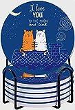 GUVICINIR Untersetzer für Getränke,Süße Cartoon-Katzen verliebt Romantisch Ich Liebe Dich bis zum Mond und zurück - Schriftzug,Absorbierenden Saugfähige Untersetzer mit Halter