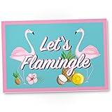 DankeDir! Let's Flamingle - Flamingo Kunststoff Schild mit Spruch Wanddeko Party Deko Dekoration Wohnung - süße Geschenkidee Geburtstagsgeschenk - Geschenk Beste Freundin