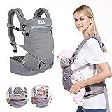 BelleStyle Babytrage - Reine Baumwolle, Atmungsaktiv, Verstellbar Ergonomische Kindertrage/Baby Rückentrage für Neugeborene & Kleinkinder von 0 bis 3 Jahren (3,5 bis 20 kg) - Grau