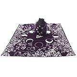 DENGHENG 2-teiliges Set mit Tarot-Tischdecke aus Samt mit Tasche, Hexe, Wahrsagung, Mondphasen, Liebhaber,