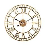 Foxcm Wanduhr Vintage, 40cm Metall Große Wanduhr, Lautlos Wanduhr ohne tickgeräusche Dekorative für Küche Wohnzimmer Schlafzimmer