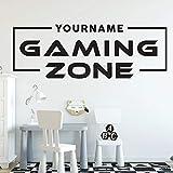 Benutzerdefinierter Name Gaming Zone Logo Zeichen Essen Schlaf Videospiel Controller Controller Wandaufkleber Vinyl Kunst Aufkleber Junge Fans Schlafzimmer Spielzimmer Club Home Decor Wandb