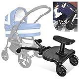 TOPQSC Kiddy Board, Vollfederung, für verschiedene Arten von Kinderwagen, für Kinder im Alter von 2–5 Jahren, maximale Belastung beträgt 27,2 kg.
