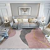 Teppich Wohnzimmer Modern Gestreift Grau Pink Kurzflor Teppiche für Kuche Schlafzimmer et Flur Modern Design Waschbarer Teppich Rechteck Room Decor 140x200cm