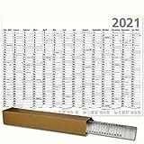 XL Plakatkalender 2021 Optima Posterkalender XXL 100 x 70 cm großer Wandkalender mit Ferienübersicht Sonn- und Feiertage in Blau gerollt geliefert!