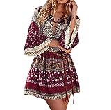 TIMEMEAN Damen Boho Kleid Blumendruck-beiläufiges Kleid Frauen Abend Party hübsches Kleid