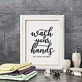 Waschende Hände Tier Wandkunst Leinwand Posterdruck interessante Badezimmer Zitate Malerei schwarz Typografie Heimtextilien-30x40cm rahmenlos