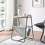 Moderne Möbel Couchtisch Beistelltisch, Beistelltisch, Wohnzimmer Holz Couchtisch Metallrahmen Snacktisch mit Ablagekorb Schwarz Schlafzimmer Nachttisch Beistelltisch Beistelltisch Nachttisch