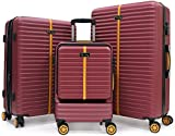 BlissTrip Hartschale Trolley Koffer Rollkoffer Reisekoffer Zwillingsrollen Kofferset mit Schwenkrollen & TSA Schloß (M-L-XL-Set)