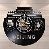 Wanduhr, Motiv: Peking Skyline, Vinyl, Chairman Mao Portrait Vintage Wanduhr China Peking Stadt Reisen Geschenk