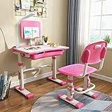 Cantonape Kinder-Schreibtisch und Stuhl-Set, höhenverstellbar, Kinder-Schulschreibtisch mit Kipp-Desktop, Buchständer, LED-Lampe, Metallhaken und Aufbewahrungsschublade für Jungen und Mädchen, (Pink)