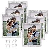 Yamiyo Bilderrahmen mit HD-Glas, 20,3 x 25,4 cm, mit Matte oder 20,3 x 25,4 cm, ohne Matte, Mehrfach-Bilderrahmen für Wand oder Tisch, 6 Stück, Used-Look Weiß