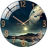 Greenf Stille Wanduhr Non Ticking, Quarz Wand Uhr Wanduhr Lautlos Sternenhimmel Sonnenuntergang Wanduhr für Schlafzimmer, Wohnzimmer, Zuhause,12 Zoll 30cm (#6)