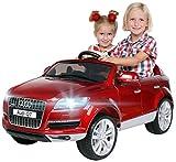 Actionbikes Motors Kinder Elektroauto Audi Q7 4L Lackiert - Lizenziert - 2 x 45 Watt Motor - 2,4 Ghz Rc Fernbedienung - USB - Mp3 - Elektro Auto für Kinder ab 3 Jahre (Rot lackiert)