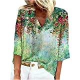 Damen 3/4 V-Ausschnitt Tunika Tops, Trendy Sommer Strand Hawaii Blumen Shirts T-Shirts Lose Bohemian Freizeit Vintage Bluse Sweatshirts Basic Classic T-Shirts Pullover