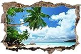 3D-Effekt Wandtattoo Aufkleber Durchbruch selbstklebendes Wandbild Wandsticker Stein Wanddurchbruch Wandaufkleber Tattoo,Strand Meer Palmen Urlaub,Größe:60x90cm