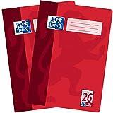Oxford Schulhefte A4 kariert mit Rand, Lineatur 26, 16 Blatt, hochwertiges 90 g/m² Papier, rot, 2er Pack