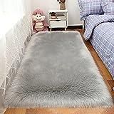 Teppich aus Seidenwolle, langgefärbte Wollteppiche, große Größe, fusselfreier Kunstfell-Teppich, weich, flauschig, moderne Heimdekoration für Schlafzimmer, Kinderzimmer, Wohnzimmer (grau, 80 x 180 cm)