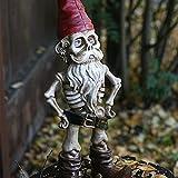 Zombie-Zwerg Gartenstatue – Neuartiges Skelett Zwerg Paar und Skelett Hund, Ebros Love Never Dies Castaway Skelett Paar Figuren, Schädel Garten Dekoration (Mann)