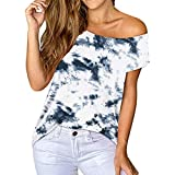 XUNN Damen Tops Mode Sexy Lässig Gedruckt Von der Schulter Tops Kurzarm T-Shirt Bluse Female Tee Frauen Oberteile