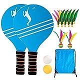 surfsexy Beach Tennis Badminton Schläger Paddel Set mit PingPong Bällen Federbälle Garten Freiflächen Park Outdoor