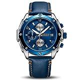 MEGIR Big Face Blau Uhren für Herren Mode Lederband Analog Militär Chronograph Herren Sport Uhr mit Geschenkbox b