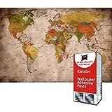 GREAT ART Fototapete Vintage Weltkarte 336 x 238 cm – Atlas Globus Länder Städte Braun Retro Look Antik Stil Wandtapete Dekoration Wandbild – 8 Teile Tapete inklusive Kleister