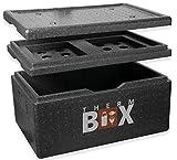 THERM BOX Styroporbox Groß 40 Liter mit Kühlfach Isolierbox Thermobox Warmhaltebox Kühlbox Thermobehälter GN Innen: 53,9x34x21,9cm Wiederverwendb