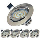 LED Einbaustrahler Ultra Flach Schwenkbar 5er Set Einbauspots 7W LED Modul 230V Einbauleuchten Warmweiß 3000K LED Spots IP44 für Wohnzimmer, Badezimmer, Bü
