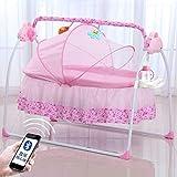 Erweiterte Version Elektrische Baby Wiege, Multifunktionale Automatische Babyschaukel Faltbare 3 Schaukelgeschwindigkeiten Wiege Abnehmbarem Spielzeugbügel Babyliege