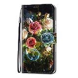 Unichthy iPhone 11 Pro Max Hülle Flip PU Leder Stoßfest Wallet Case mit Stand Magnetic Money Pouch Folio Silikon Bumper Gel Schutzhülle für iPhone 11 Pro Max Roses