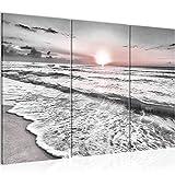 Runa Art Bild XXL Sonnenuntergang Strand Meer Wandbilder Wohnzimmer Grau Rosa Panoramabild 023731b