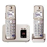 Panasonic KX-TGE222GN DECT Seniorentelefon mit Anrufbeantworter (schnurlos, hörgerätekompatibel, Großtastentelefon DUO, strahlungsarm) champag