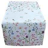heimtexland ® Tisch Dekoration Serie Blumen Weiß Bunt Tischdecke Tischläufer 40x90 Blumenwiese Mehrfarbig Typ520