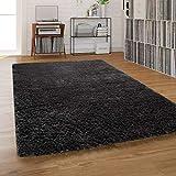 Paco Home Hochflor-Teppich, Shaggy Waschbar Für Wohnzimmer Und Schlafzimmer, Anthrazit Grau, Grösse:140x200 cm